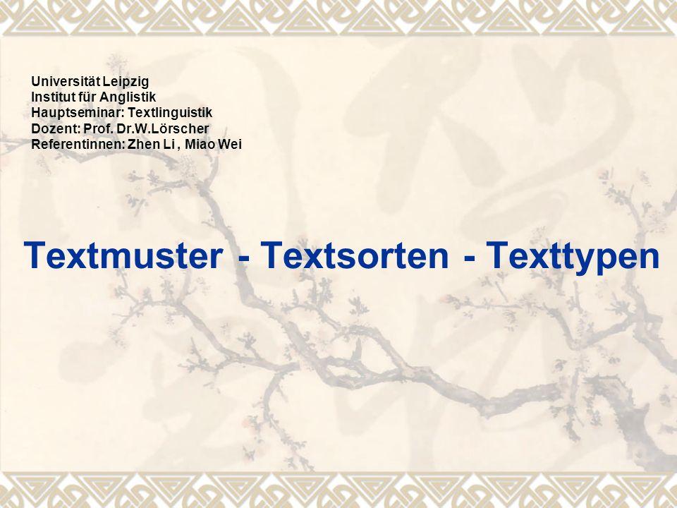Textmuster - Textsorten - Texttypen Universität Leipzig Institut für Anglistik Hauptseminar: Textlinguistik Dozent: Prof. Dr.W.Lörscher Referentinnen: