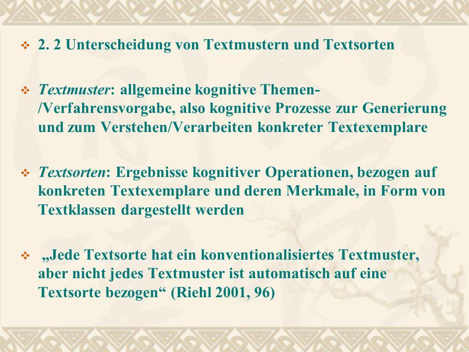 2. 2 Unterscheidung von Textmustern und Textsorten Textmuster: allgemeine kognitive Themen- /Verfahrensvorgabe, also kognitive Prozesse zur Generierun