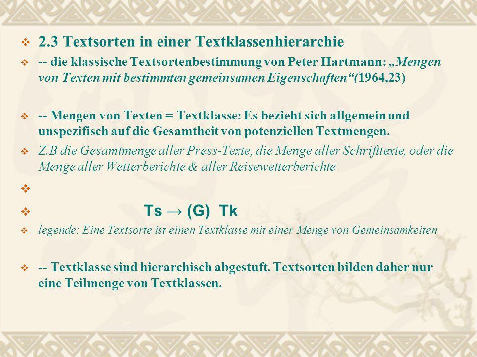 2.3 Textsorten in einer Textklassenhierarchie -- die klassische Textsortenbestimmung von Peter Hartmann: Mengen von Texten mit bestimmten gemeinsamen