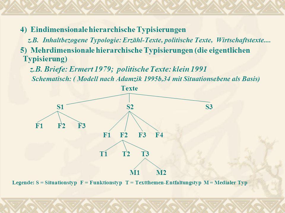 4) Eindimensionale hierarchische Typisierungen z.B. Inhaltbezogene Typologie: Erzähl-Texte, politische Texte, Wirtschaftstexte.... 5) Mehrdimensionale