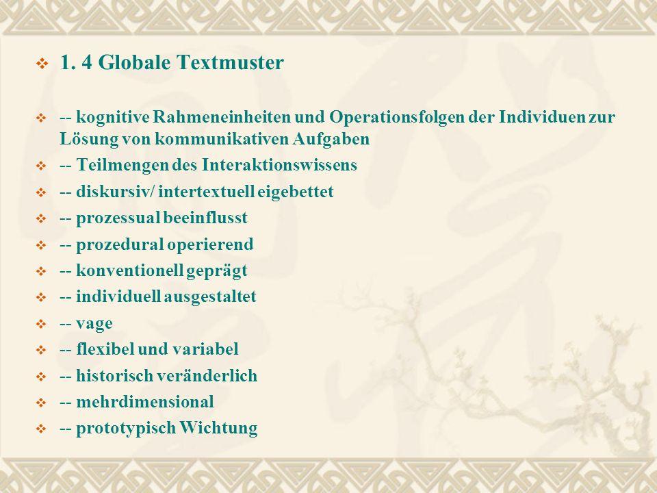 1. 4 Globale Textmuster -- kognitive Rahmeneinheiten und Operationsfolgen der Individuen zur Lösung von kommunikativen Aufgaben -- Teilmengen des Inte