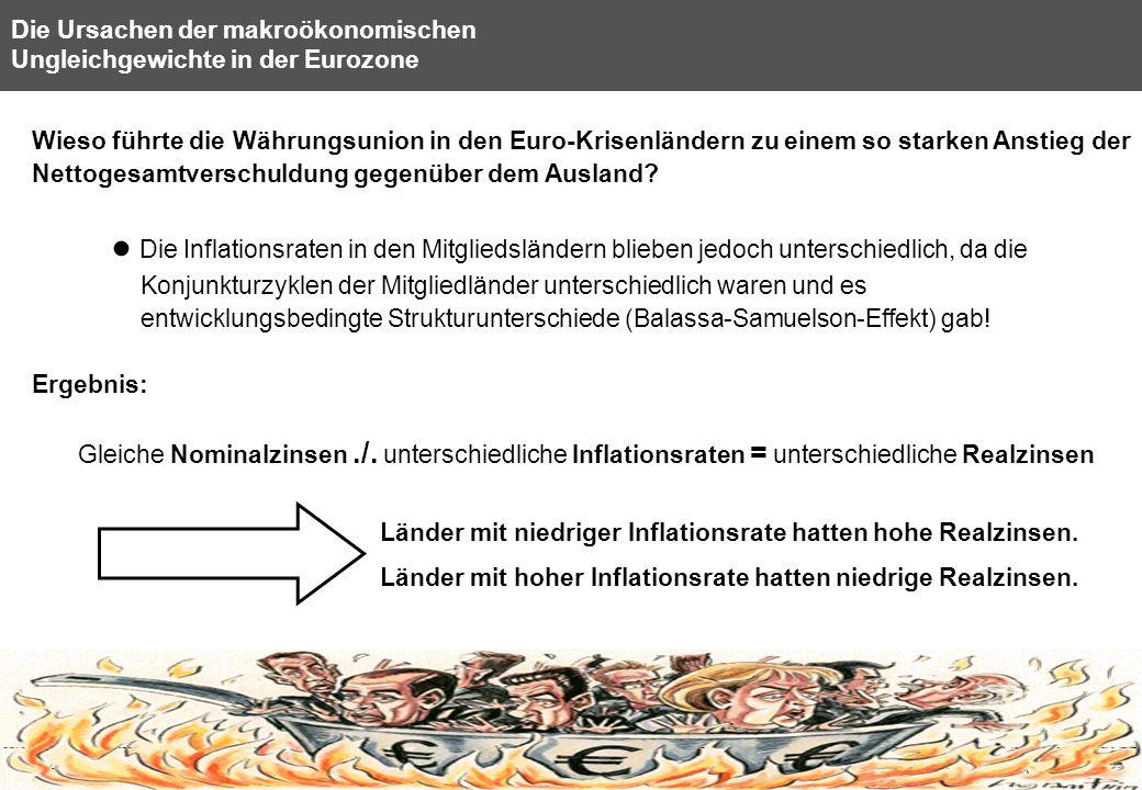 15 Die Ursachen der makroökonomischen Ungleichgewichte in der Eurozone Wieso führte die Währungsunion in den Euro-Krisenländern zu einem so starken An