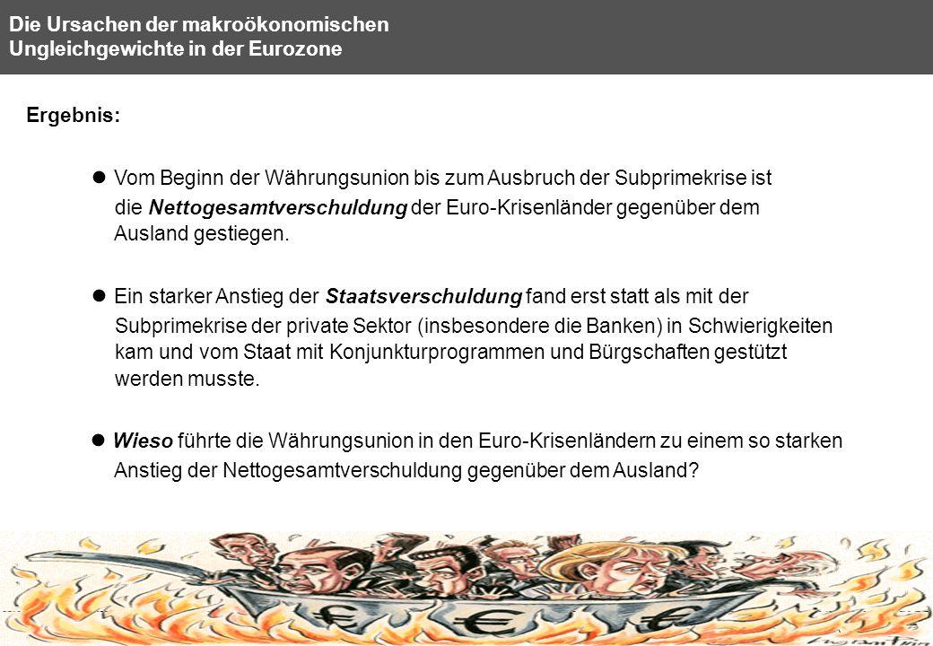 8 Die Ursachen der makroökonomischen Ungleichgewichte in der Eurozone Ergebnis: Vom Beginn der Währungsunion bis zum Ausbruch der Subprimekrise ist di