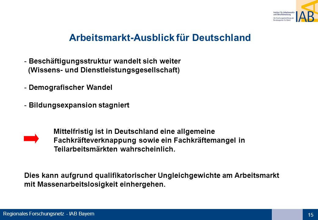 Regionales Forschungsnetz - IAB Bayern Arbeitsmarkt-Ausblick für Deutschland - Beschäftigungsstruktur wandelt sich weiter (Wissens- und Dienstleistung