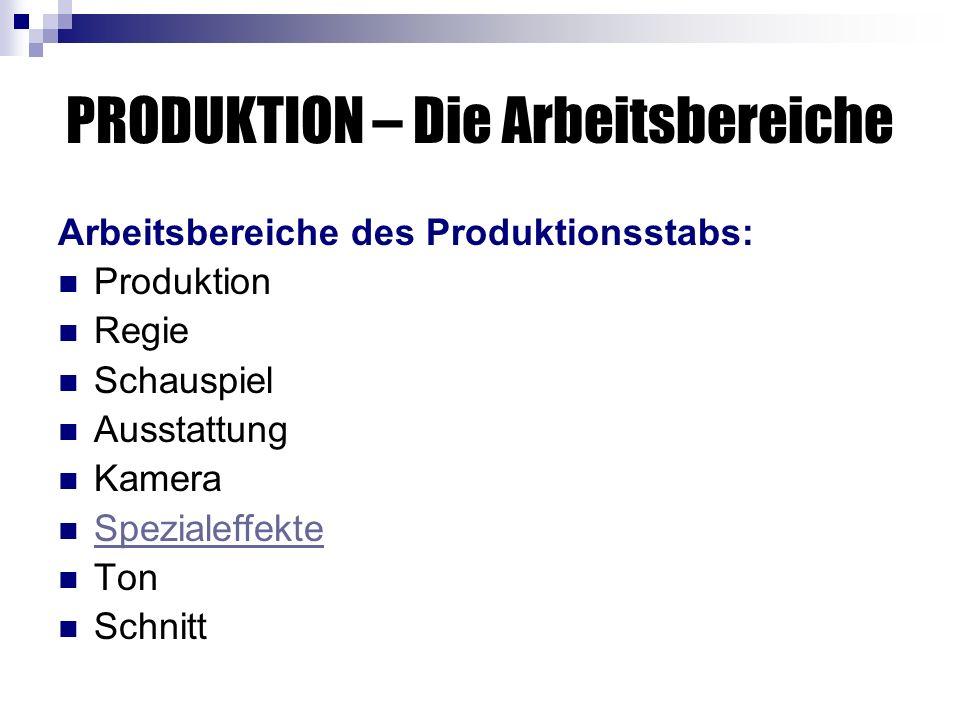 PRODUKTION – Die Arbeitsbereiche Arbeitsbereiche des Produktionsstabs: Produktion Regie Schauspiel Ausstattung Kamera Spezialeffekte Ton Schnitt