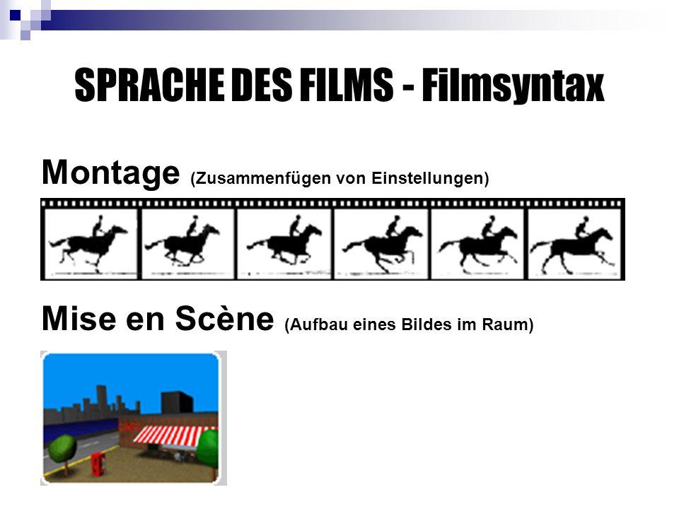 SPRACHE DES FILMS - Filmsyntax Montage (Zusammenfügen von Einstellungen) Mise en Scène (Aufbau eines Bildes im Raum)
