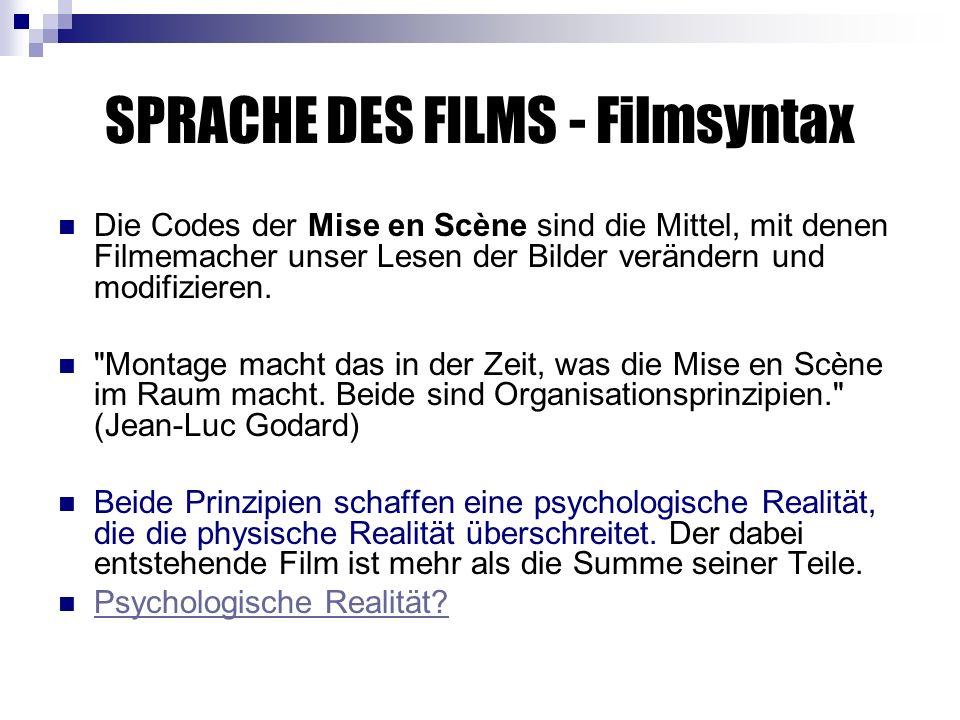 SPRACHE DES FILMS - Filmsyntax Die Codes der Mise en Scène sind die Mittel, mit denen Filmemacher unser Lesen der Bilder verändern und modifizieren.