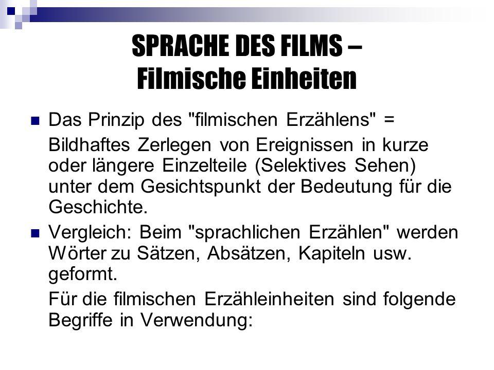 SPRACHE DES FILMS – Filmische Einheiten Das Prinzip des filmischen Erzählens = Bildhaftes Zerlegen von Ereignissen in kurze oder längere Einzelteile (Selektives Sehen) unter dem Gesichtspunkt der Bedeutung für die Geschichte.