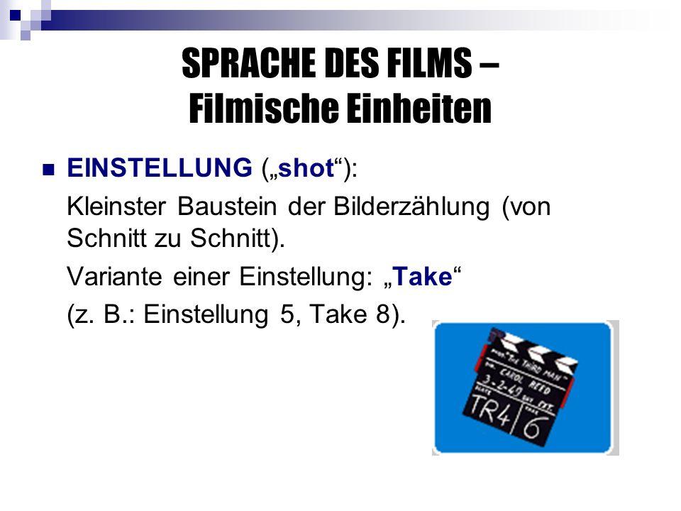 SPRACHE DES FILMS – Filmische Einheiten EINSTELLUNG (shot): Kleinster Baustein der Bilderzählung (von Schnitt zu Schnitt).