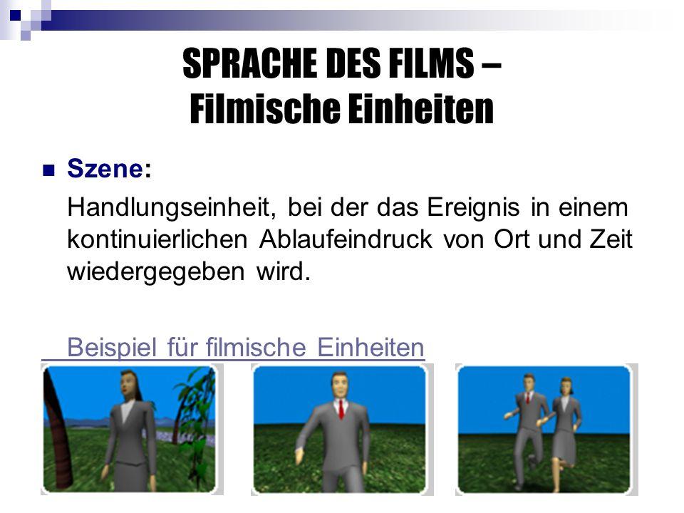 SPRACHE DES FILMS – Filmische Einheiten Szene: Handlungseinheit, bei der das Ereignis in einem kontinuierlichen Ablaufeindruck von Ort und Zeit wiedergegeben wird.