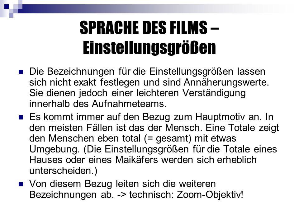 SPRACHE DES FILMS – Einstellungsgrößen Die Bezeichnungen für die Einstellungsgrößen lassen sich nicht exakt festlegen und sind Annäherungswerte.