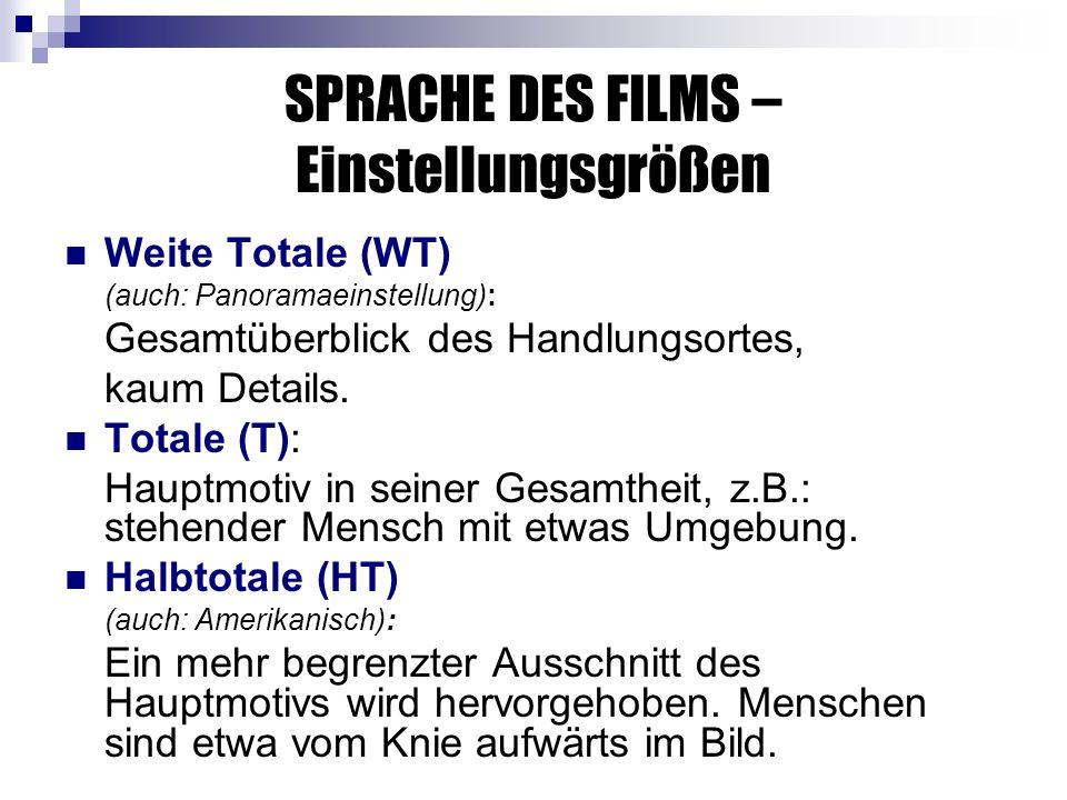 SPRACHE DES FILMS – Einstellungsgrößen Weite Totale (WT) (auch: Panoramaeinstellung): Gesamtüberblick des Handlungsortes, kaum Details.