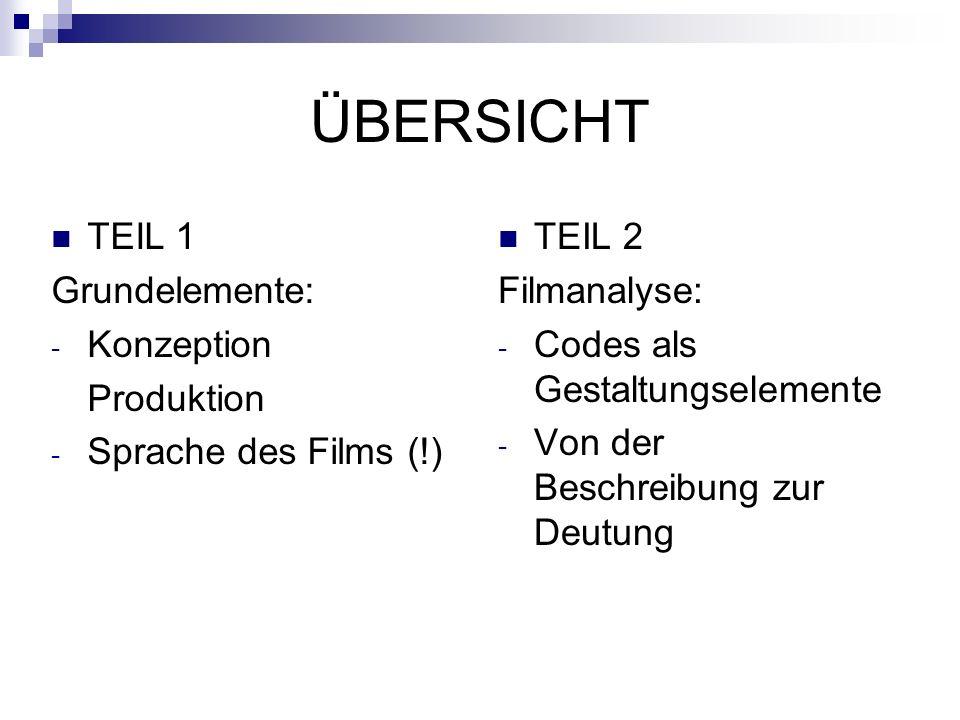 ÜBERSICHT TEIL 2 Filmanalyse: - Codes als Gestaltungselemente - Von der Beschreibung zur Deutung TEIL 1 Grundelemente: - Konzeption Produktion - Sprache des Films (!)