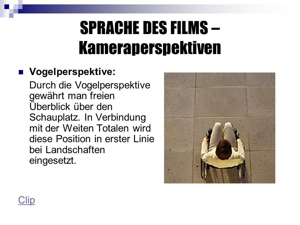SPRACHE DES FILMS – Kameraperspektiven Vogelperspektive: Durch die Vogelperspektive gewährt man freien Überblick über den Schauplatz.