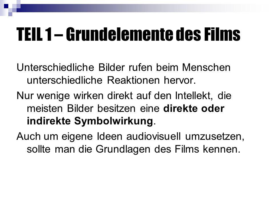 TEIL 1 – Grundelemente des Films Unterschiedliche Bilder rufen beim Menschen unterschiedliche Reaktionen hervor.
