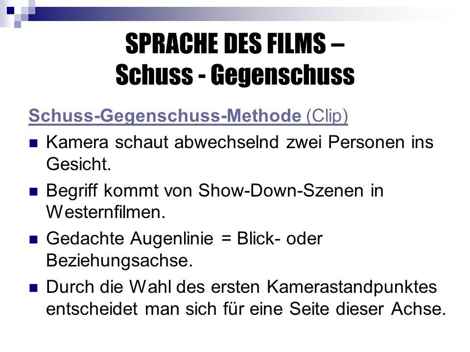 SPRACHE DES FILMS – Schuss - Gegenschuss Schuss-Gegenschuss-Methode (Clip) Kamera schaut abwechselnd zwei Personen ins Gesicht.