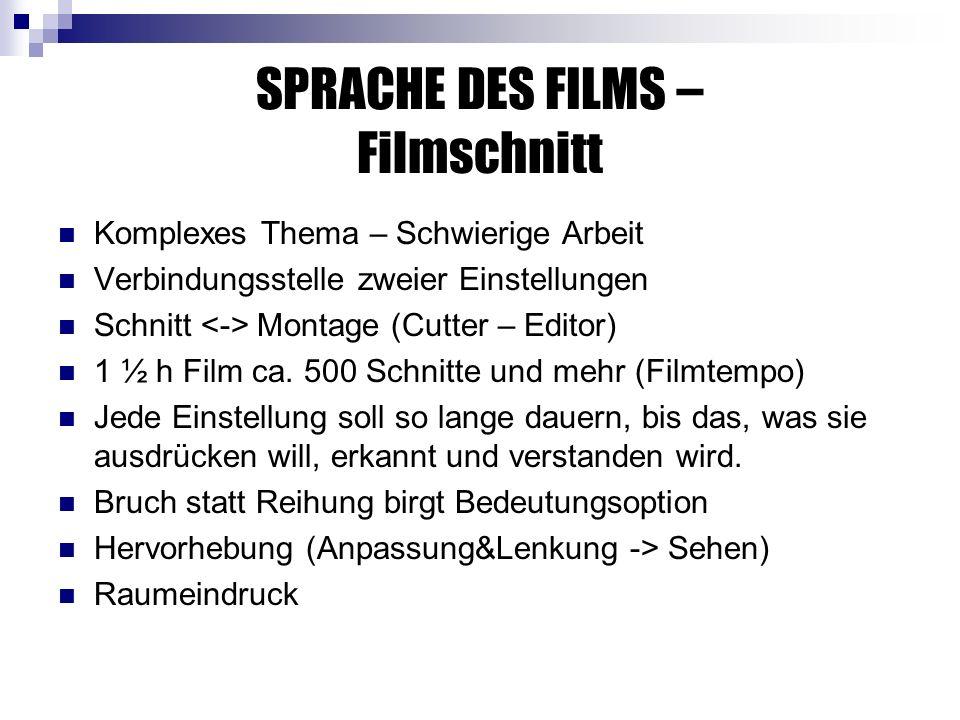 SPRACHE DES FILMS – Filmschnitt Komplexes Thema – Schwierige Arbeit Verbindungsstelle zweier Einstellungen Schnitt Montage (Cutter – Editor) 1 ½ h Film ca.