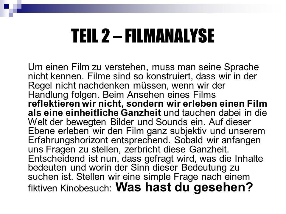 TEIL 2 – FILMANALYSE Um einen Film zu verstehen, muss man seine Sprache nicht kennen.