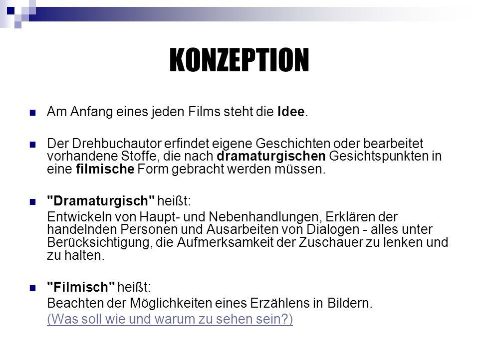 KONZEPTION Am Anfang eines jeden Films steht die Idee.