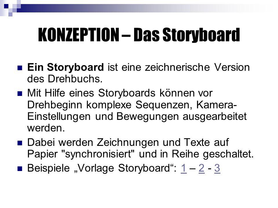 KONZEPTION – Das Storyboard Ein Storyboard ist eine zeichnerische Version des Drehbuchs.