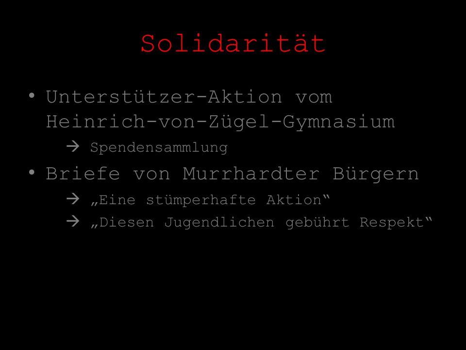 Unterstützer-Aktion vom Heinrich-von-Zügel-Gymnasium Spendensammlung Briefe von Murrhardter Bürgern Eine stümperhafte Aktion Diesen Jugendlichen gebüh