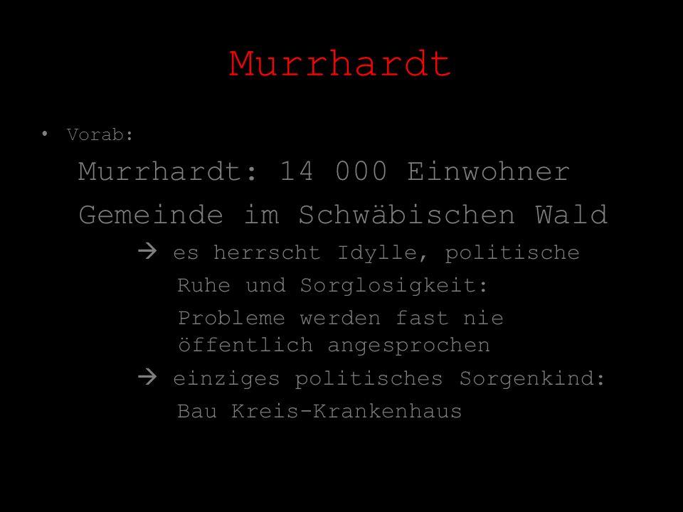 Murrhardt Vorab: Murrhardt: 14 000 Einwohner Gemeinde im Schwäbischen Wald es herrscht Idylle, politische Ruhe und Sorglosigkeit: Probleme werden fast