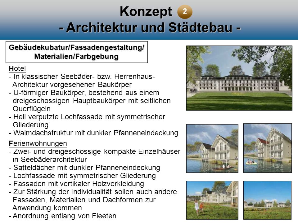 Konzept - Architektur und Städtebau - Gebäudekubatur/Fassadengestaltung/ Materialien/Farbgebung Hotel - In klassischer Seebäder- bzw. Herrenhaus- Arch