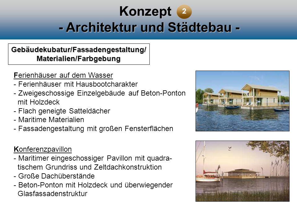 Konzept - Architektur und Städtebau - Gebäudekubatur/Fassadengestaltung/ Materialien/Farbgebung Ferienhäuser auf dem Wasser - Ferienhäuser mit Hausboo