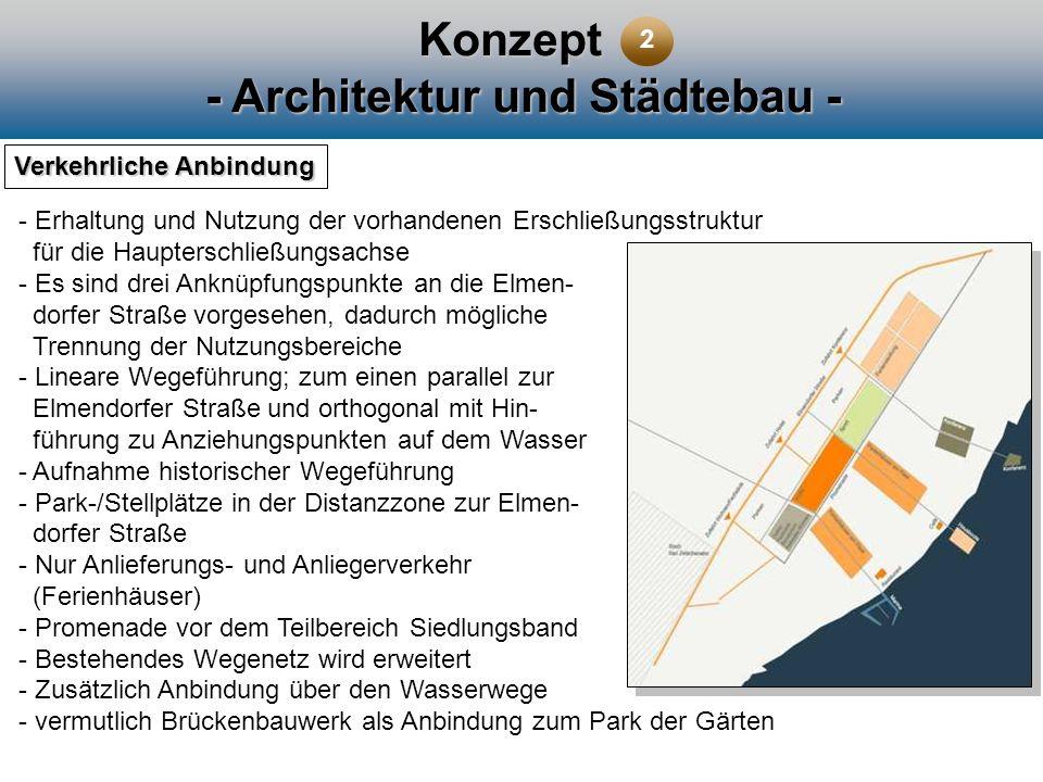 Konzept - Architektur und Städtebau - Verkehrliche Anbindung - Erhaltung und Nutzung der vorhandenen Erschließungsstruktur für die Haupterschließungsa