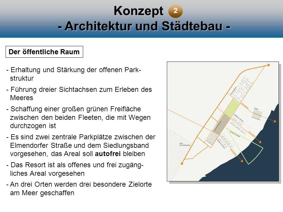 Konzept - Architektur und Städtebau - Der öffentliche Raum - Erhaltung und Stärkung der offenen Park- struktur - Führung dreier Sichtachsen zum Erlebe