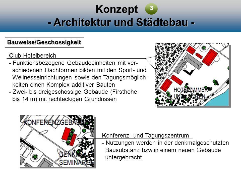 Konzept - Architektur und Städtebau - Bauweise/Geschossigkeit Club-Hotelbereich - Funktionsbezogene Gebäudeeinheiten mit ver- schiedenen Dachformen bi
