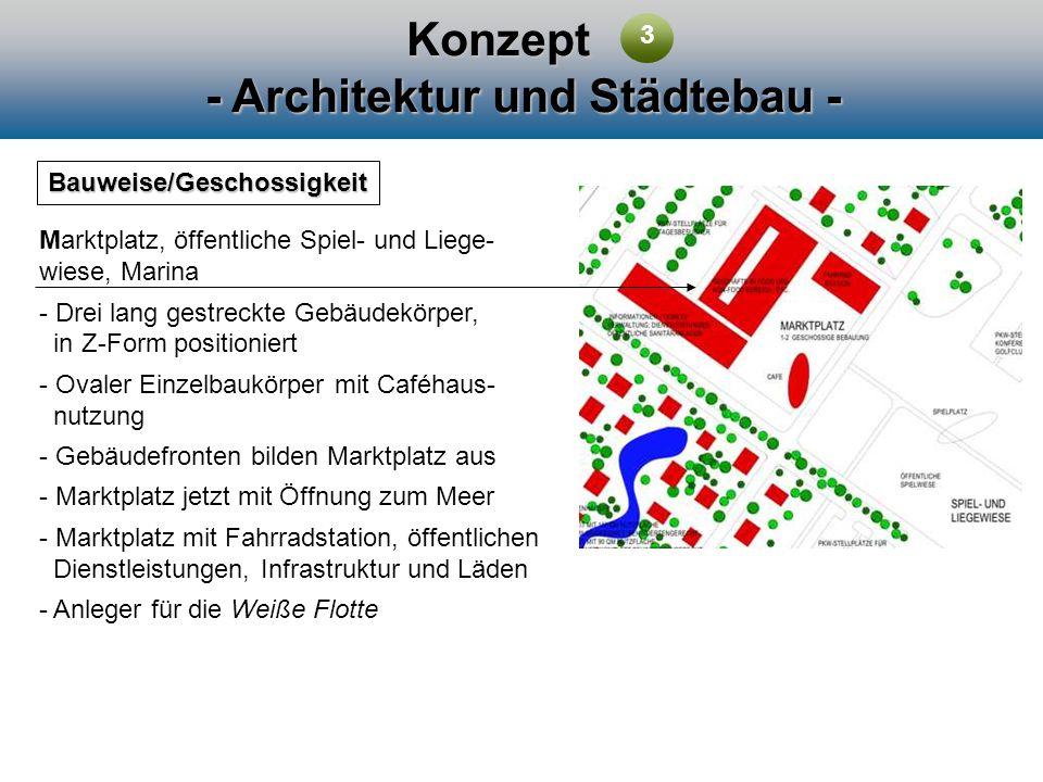 Konzept - Architektur und Städtebau - Bauweise/Geschossigkeit Marktplatz, öffentliche Spiel- und Liege- wiese, Marina - Drei lang gestreckte Gebäudekö