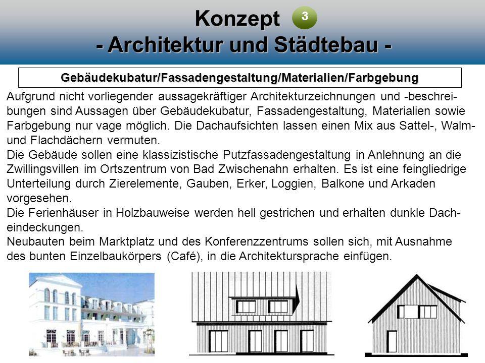 Konzept - Architektur und Städtebau - Gebäudekubatur/Fassadengestaltung/Materialien/Farbgebung Aufgrund nicht vorliegender aussagekräftiger Architektu