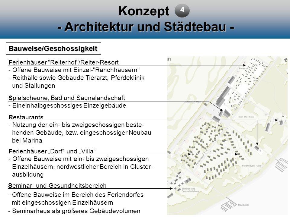 Konzept - Architektur und Städtebau - Bauweise/Geschossigkeit Ferienhäuser