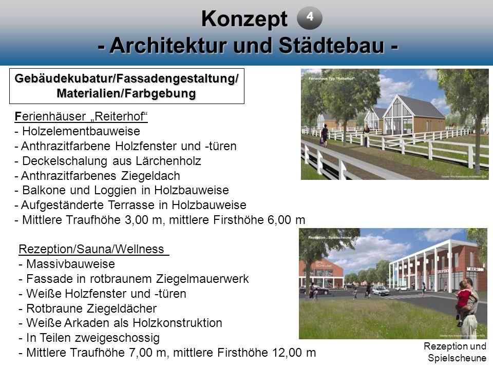 Konzept - Architektur und Städtebau - Gebäudekubatur/Fassadengestaltung/ Materialien/Farbgebung Ferienhäuser Reiterhof - Holzelementbauweise - Anthraz