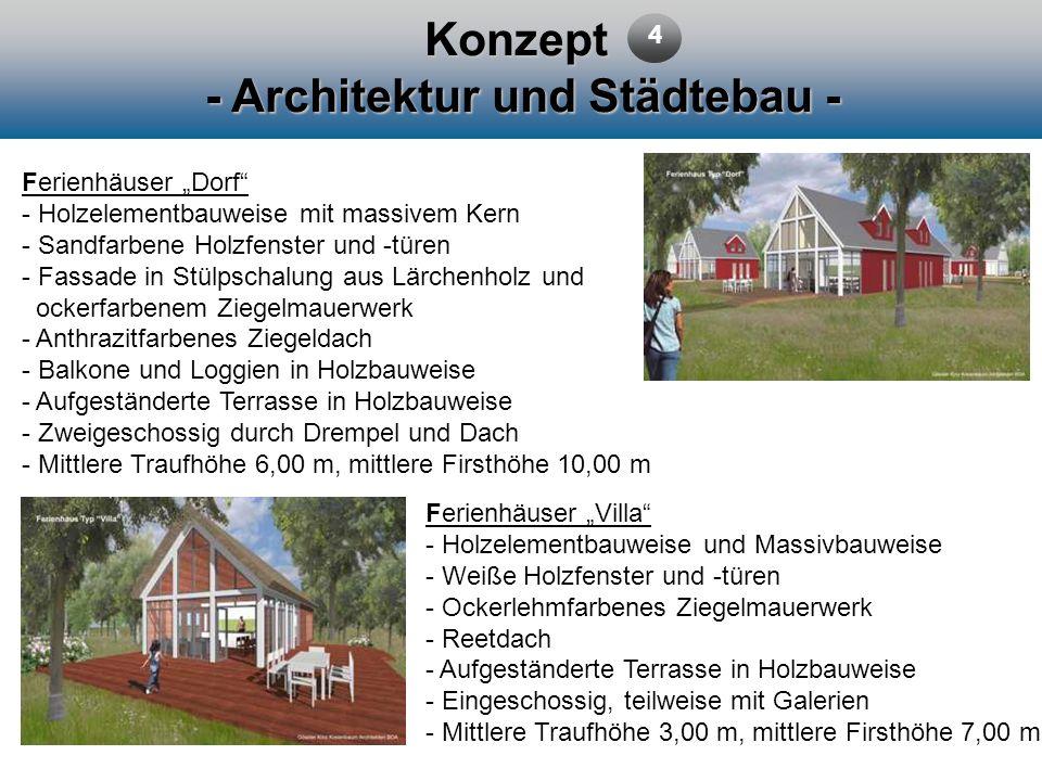 Konzept - Architektur und Städtebau - Ferienhäuser Dorf - Holzelementbauweise mit massivem Kern - Sandfarbene Holzfenster und -türen - Fassade in Stül