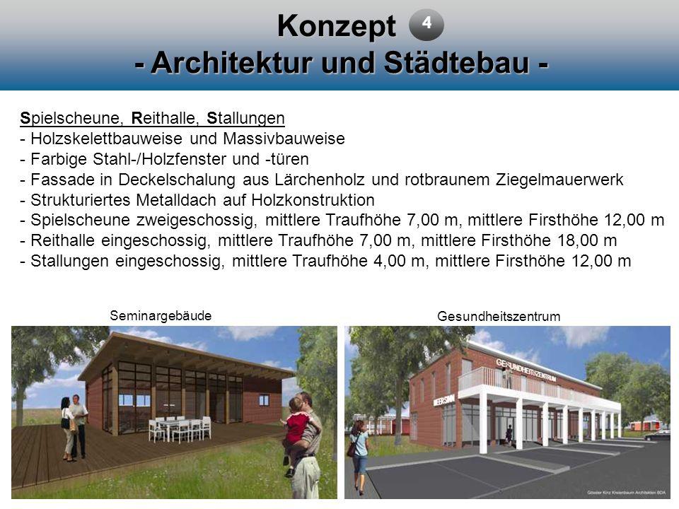Konzept - Architektur und Städtebau - 4 Spielscheune, Reithalle, Stallungen - Holzskelettbauweise und Massivbauweise - Farbige Stahl-/Holzfenster und