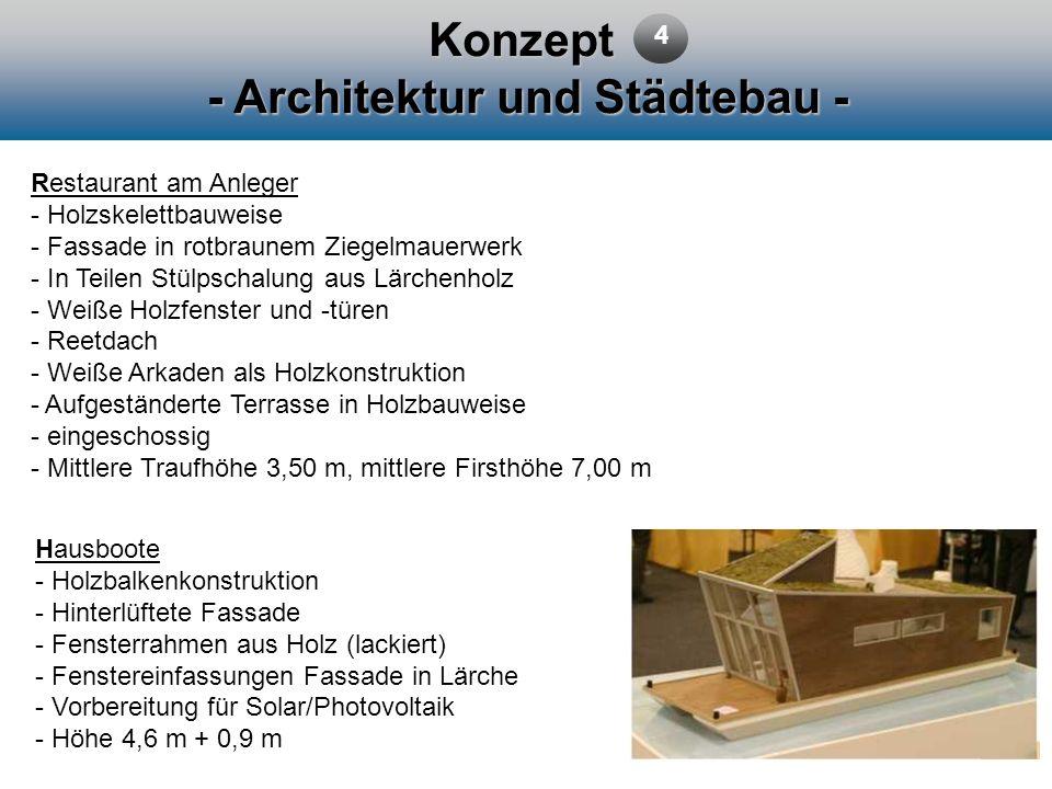 Konzept - Architektur und Städtebau - 4 Restaurant am Anleger - Holzskelettbauweise - Fassade in rotbraunem Ziegelmauerwerk - In Teilen Stülpschalung