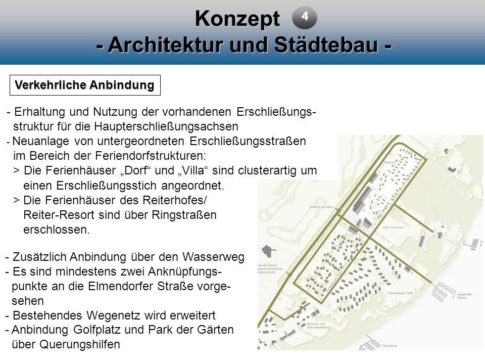 Konzept - Architektur und Städtebau - Verkehrliche Anbindung 4 - Erhaltung und Nutzung der vorhandenen Erschließungs- struktur für die Haupterschließu