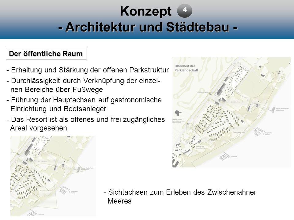 Konzept - Architektur und Städtebau - Der öffentliche Raum 4 - Erhaltung und Stärkung der offenen Parkstruktur - Durchlässigkeit durch Verknüpfung der