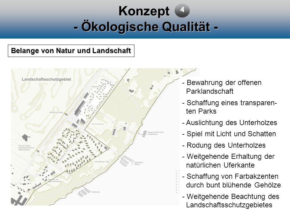 Konzept - Ökologische Qualität - Belange von Natur und Landschaft - Bewahrung der offenen Parklandschaft - Schaffung eines transparen- ten Parks - Aus