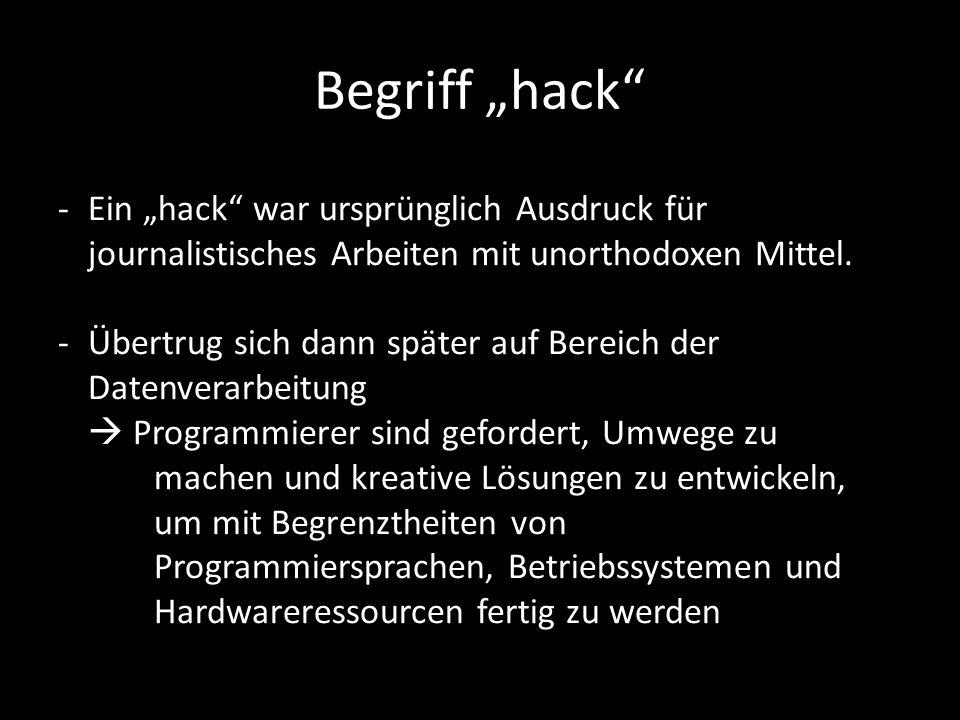 Begriff hack -Ein hack war ursprünglich Ausdruck für journalistisches Arbeiten mit unorthodoxen Mittel.