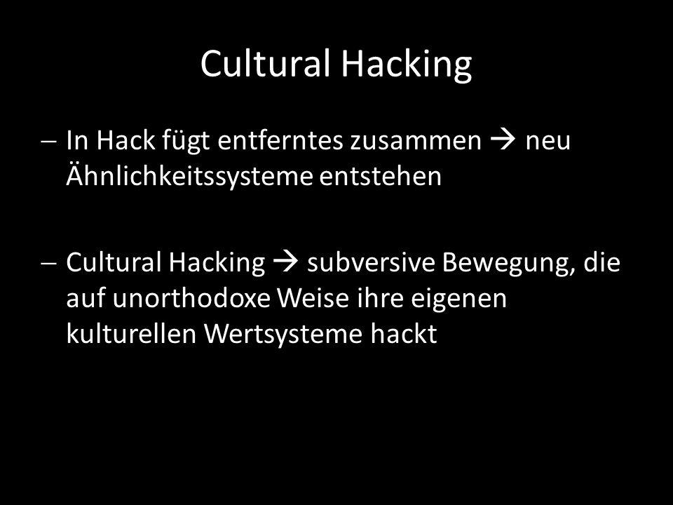 Cultural Hacking In Hack fügt entferntes zusammen neu Ähnlichkeitssysteme entstehen Cultural Hacking subversive Bewegung, die auf unorthodoxe Weise ihre eigenen kulturellen Wertsysteme hackt