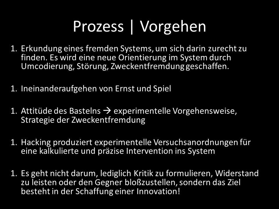 Prozess | Vorgehen 1.Erkundung eines fremden Systems, um sich darin zurecht zu finden.