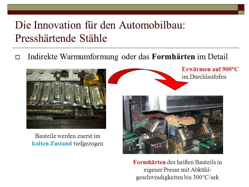 Die Innovation für den Automobilbau: Presshärtende Stähle Indirekte Warmumformung oder das Formhärten im Detail Bauteile werden zuerst im kalten Zusta