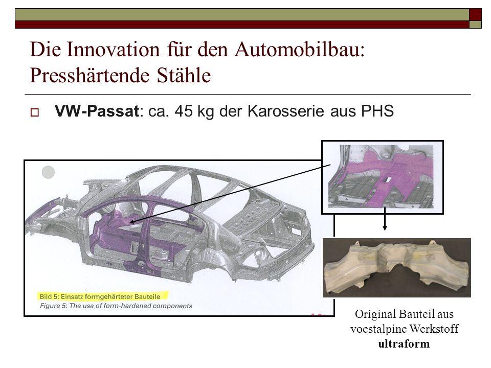Die Innovation für den Automobilbau: Presshärtende Stähle VW-Passat: ca. 45 kg der Karosserie aus PHS HT1500PS Original Bauteil aus voestalpine Werkst