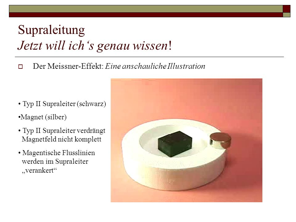 Supraleitung Jetzt will ichs genau wissen! Der Meissner-Effekt: Eine anschauliche Illustration Typ II Supraleiter (schwarz) Magnet (silber) Typ II Sup