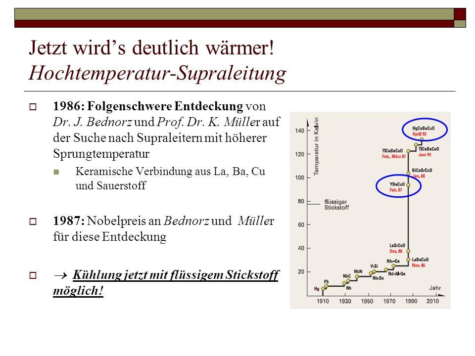 Jetzt wirds deutlich wärmer! Hochtemperatur-Supraleitung 1986: Folgenschwere Entdeckung von Dr. J. Bednorz und Prof. Dr. K. Müller auf der Suche nach