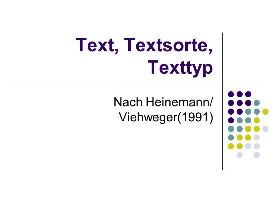 Text, Textsorte, Texttyp Nach Heinemann/ Viehweger(1991)