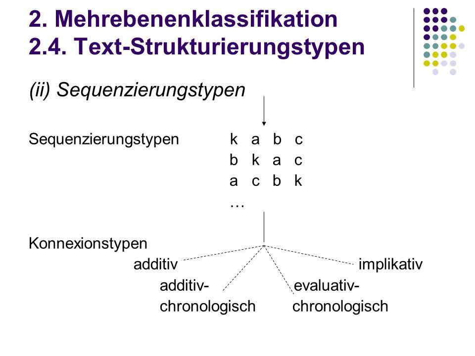 2. Mehrebenenklassifikation 2.4. Text-Strukturierungstypen (ii) Sequenzierungstypen Sequenzierungstypen k a b c b k a c a c b k … Konnexionstypen addi